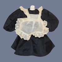 """Small Black Satin and Lace Doll Dress With White Apron 6"""""""