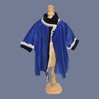 Vintage Royal Blue Velvet Doll Coat 12 inches