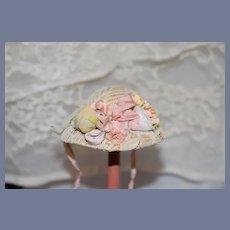 Old Little Straw Woven Doll Sun Hat Bonnet