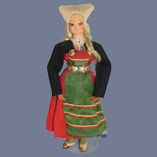 Old Blonde Painted Cloth Doll In Ethnic German Outfit
