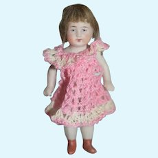 Antique Doll Miniature All Bisque Jointed Dollhouse Nicely Dressed