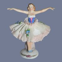 "Vintage Sitzendorf Porclain Miniature Ballerina Figurine 4"""