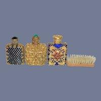 Vintage Doll Perfume Bottle Set Ornate Metal Glass W/ Fancy Miniature Brush