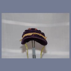 Old Doll Bonnet Velvet Lace Silk Hat Fashion Doll