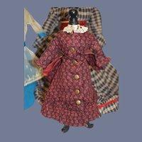 Vintage Doll Floral Dress W/ Lace Big Brass Button