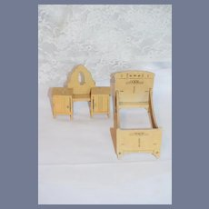 Old Wood Dresser Bed Painted Wood Cottage Doll Dollhouse