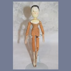 Antique Doll Wood Grodnertal Doll Jointed Pegged Carved