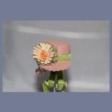 Fancy Petite Doll Bonnet Hat Felt W/ Velvet Flower and Front Brim Allegro By Alice Von Benken Tagged