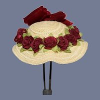 Miniature Artist Doll Straw Sun Hat With Roses 4.5 inch circumference