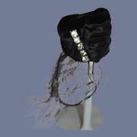 Vintage Petite Doll Hat Rhinestones Velvet Satin