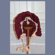 Vintage Fancy Wine Color Lace Trimmed Wire Framed Doll Bonnet Hat