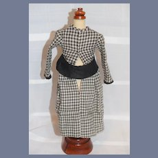 Vintage Doll Dress Black and White Gingham w/ Fancy Bow