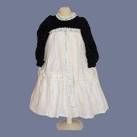 Vintage Doll Dress Velvet Lace Cotton Gorgeous High Waist French Market