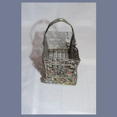Antique Doll Soft Metal Painted Miniature Basket W/ Swinging Handle Miniature