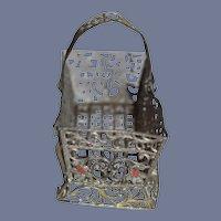 Antique Doll Soft Metal Painted Miniature Basket W/ Swinging Handle Miniature
