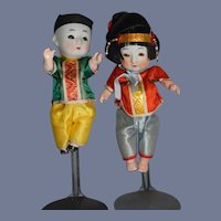 Pair of Vintage Oriental Bisque Head Dolls 5.5 inches