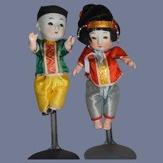 Pair of Vintage Oriental Bisque Head Dolls 5.5 inches