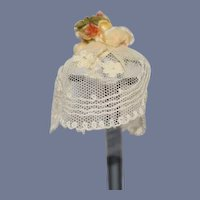 Vintage Miniature White Lace Flower Doll Hat 6 inch circumference
