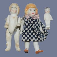 Antique All Bisque and Frozen Charlotte Miniature Dolls 1 to 2 1/4 inches