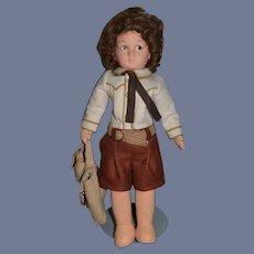 Vintage Lenci Felt Cloth Doll Boy W/ Luggage