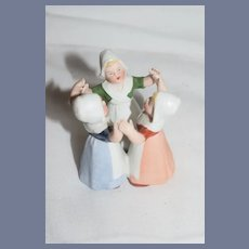 Old All Bisque Doll Miniature Dancing Dutch Girls Miniature Dollhouse Figurine
