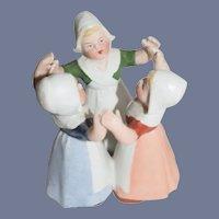 Old All Bisque Doll Miniature Dancing Dutch Girls Miniature Dollhouse Figurine