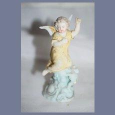 Old All Bisque Angel Cherub on Pedestal Miniature Dollhouse