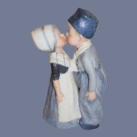 Old Bisque Doll Figurine Set Dutch Girl Boy Kissing