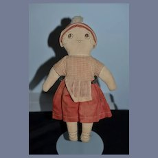 Old Cloth Doll Rag Doll Dressed Sewn Features