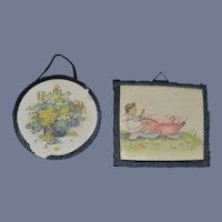 Old Doll Miniature Dollhouse Picture Frames Set of Two