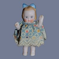 Vintage Miniature Artist All Bisque Girl Baby Doll 1 & 3/4 inches tall