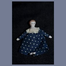 Vintage Miniature Artist Bisque Girl Doll In Blue Polka Dot Dress 2 inches