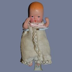 Old Painted Bisque Doll Jointed K&H German W/ Original Heart Box Miniature Baby StoryBook