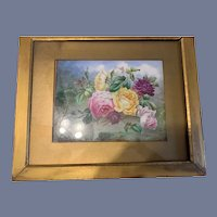 Wonderful Antique Porcelain Hand Painted Flowers Plaque Framed