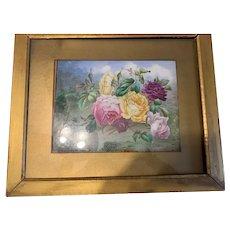 Wonderful Antique Porcelain Hand Painted Flowers Plaque Framed