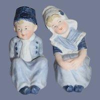 Old Doll Piano Baby Figurine Dutch Boy and Dutch Girl Bisque Set