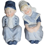 Old Doll Piano Baby Figurine Dutch Boy and Dutch Girl Bisque Set