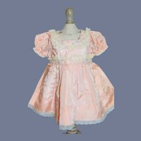 Vintage Beautiful Pink Satin Doll Dress With Flowers 11.5 inches