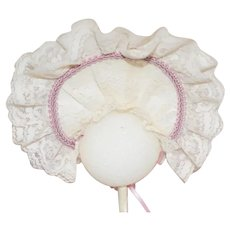 Vintage Beautiful White Lace And Silk Doll Bonnet 9 inch circumference