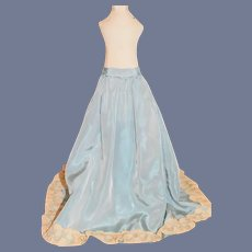 Vintage Beautiful Blue Satin and Lace Fashion Doll Skirt 15 inches