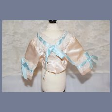 Vintage French Market Fashion Doll Top Light Pink Satin And White Lace Doll Blouse 3.5 inches