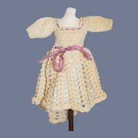 Vintage Hand Done Small Cream Knit Lined Doll Dress 6 inches