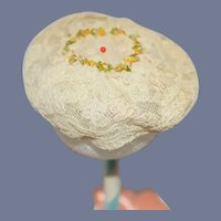 Vintage Miniature Cream Lace Doll Hat 7.5 inch circumference