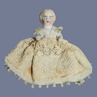 Antique Jointed Miniature Blonde All Bisque Girl Doll