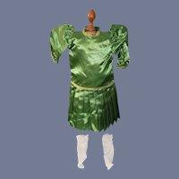 Vintage Green Satin Doll Dress With White Socks