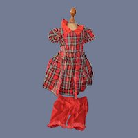 Vintage Beautiful Red Plaid Dress With Red Pants 14 inches