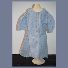 Vintage Large Blue And White Plaid Doll Dress 20 inch