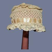 Vintage Crochet Doll Bonnet W/ Threaded Ribbon