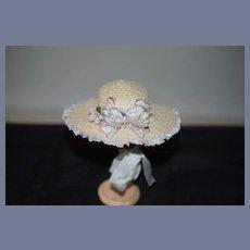 Vintage Doll Straw Bonnet Hat Fancy Trim Bows