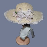 Vintage Doll Straw Bonnet Hat Fancy Trim Bows